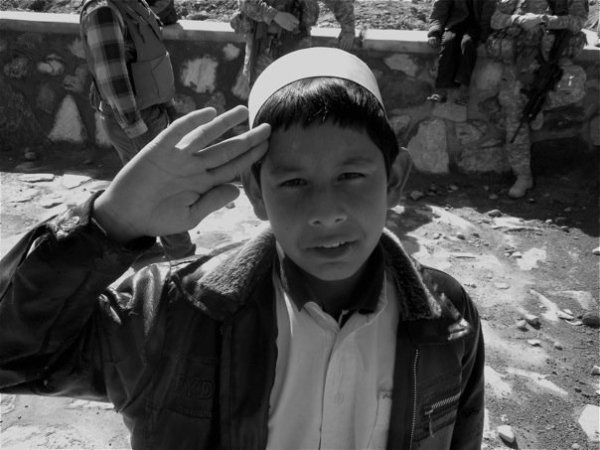 Young Boy Saluting
